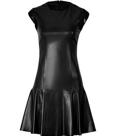 A tough-luxe take on the classic sheath, Michael Kors' slick leather dress features pretty cap sleeves and a flirty flounce hem #Stylebop