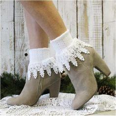 You will fall in love with our signature lace sock in white. A charming Made in USA lace sock that looks lovely with your short boots. Ladies have been calling these lace cuff socks their signature lo Sexy Socks, Socks And Heels, Cute Socks, Fall Socks, Lace Boot Socks, Ankle Socks, Wedding Socks, Signature, Lace Cuffs