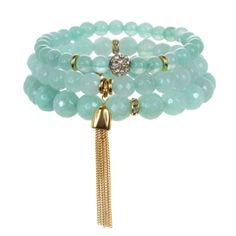 As seen in O, The Oprah Magazine! Set of 3 Color Karma semi-precious beaded stretch bracelets with crystal and 22K gold-dipped accents. Available with tassel or gem pendant. Mint calms the spirit, offering protection and healing. It encouragesvitality and helps to clear the mind of negativity.
