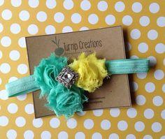 Mint Green and Yellow Headband Shabby Chic Chiffon Flower Headband