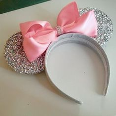 Pink Princess Minnie Mouse Ears Headband, With Super Sparkly Silver Ears Pink Princess Minnie Mouse Ears Headband With by EnchantedDust Disney Ears Headband, Diy Disney Ears, Disney Headbands, Disney Mickey Ears, Ear Headbands, Disney Diy, Disney Cars, Minnie Birthday, Minnie Mouse Party