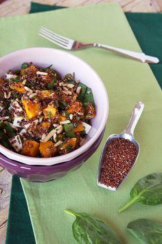Cinco Quartos de Laranja: Salada de quinoa vermelha com abóbora assada