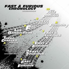 #FastandFurious ;    #F8 arrives the next week so I did this chronology in case you want to do a marathon or something, just follow the order of the numbers in yellow. You can also watch the movie 'Better Luck Tomorrow' where they introduce the character Han.  -    And yes, there will be two more films just did not want to put them because we do not know their official titles yet