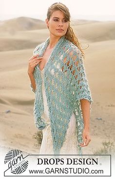 Ravelry: 88-8 Crocheted shawl in Alpaca and Vivaldi with 2 crocheted flowers pattern by DROPS design