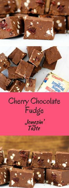 #ad Cherry Chocolate Fudge with White Chocolate Chips is a decadent dessert filled with maraschino cherries and white chocolate. #choctoberfest @imperialsugar