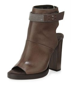 Leather Peep-Toe Ankle Boot by Brunello Cucinelli at Neiman Marcus.1995$