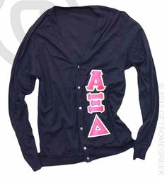 Alpha Xi Delta, Navy Pink Cardigan, The Sorority Gallery