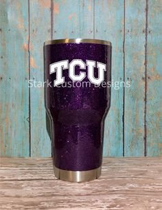 Texas Christian University TCU Horned Frogs Inspired Glitter Tumbler - Yeti, Rtic, or Ozark - 30 oz. or 20 oz. (sealed decal) by StarkCustomDesigns on Etsy