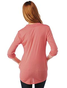 Splendid Shirting One Button Cotton Tunic in Blaze $98.00 (Back View)