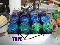 Mason jar fabric dyeing