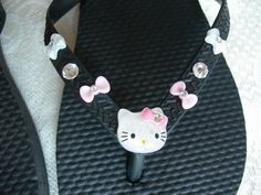 Hello Kitty and Bows Black Flip Flops size 1 or by JudysEtsyStore, $13.95 on Etsy.com...JudysEtsyStore