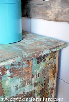 Sweet Pickins Furniture - Layering paint technique with spackling paste - distressed painted furniture Refurbished Furniture, Paint Furniture, Repurposed Furniture, Shabby Chic Furniture, Furniture Projects, Furniture Makeover, Paint Techniques Furniture, Funky Furniture, Cheap Furniture