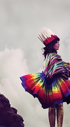 Björk's rainbow outfit