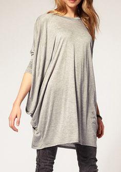 Gray Round Neck Bat Sleeve Spandex T-Shirt