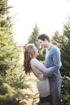 christmas tree farm engagement session