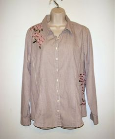 bb2691b7 Faded Glory Women's Size XL 16 Embroidered Top Button Shirt Blouse Beige  Stripe #fashion #clothing #shoes #accessories #womensclothing #tops (ebay  link)
