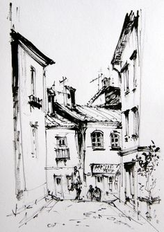 Day Stopped for a coffee after walking the dog today. City Drawing, Doodle Art Drawing, Pencil Art Drawings, Art Drawings Sketches, Landscape Drawing Easy, Urban Landscape, Dancing Drawings, City Sketch, Watercolor Architecture