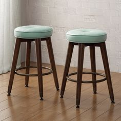 Retro Aqua Bonded Leather Wood Counter Stools (set Of 2)
