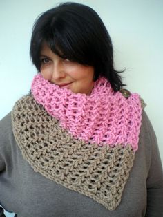 Beige and  Rose Smoke Ivy Cowl Super Soft Wool by GiuliaKnit, $39.00