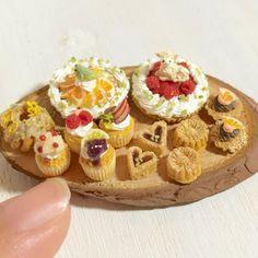 ドールハウス☆ミニチュア☆羊と青い小鳥のケーキアラカルト☆