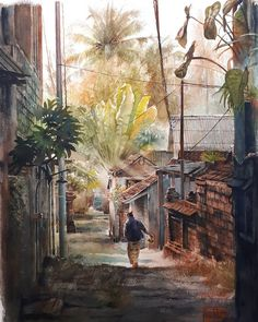 """Dry Season in Bali"" (2017)watercolor on 300gsm rough Arches paper 5676cm. Final work. Adding dark washes to the foreground to dramatize the scene and put emphasis on the center. Also some power cables here and there to provide perspective clues. #painting #watercolor #aquarelle #bali #ubud #summer"