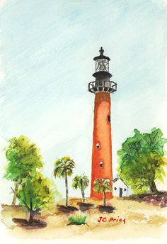 Watercolor of Jupiter Inlet Lighthouse