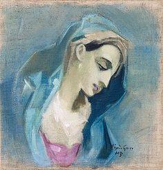 "HELENE SCHJERFBECK, ""Blå Madonna"" (Blue Madonna). - Bukowskis"