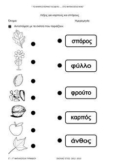 ΦΥΛΛΑ ΕΡΓΑΣΙΑΣ '' ΤΟ ΜΙΚΡΟ ΣΠΟΡΑΚΙ ΤΑΞΙΔΕΥΕΙ ΣΤΟ ΝΗΠΙΑΓΩΓΕΙΟ ΜΑΣ'' Preschool Education, Trees To Plant, Early Childhood, Crafts To Make, Projects To Try, Logo Design, How To Make, Exercise, Autumn