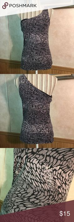 Express one shoulder tank. Gray and black one shoulder tank with built in bra Express Tops Tank Tops