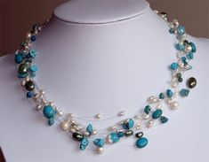 Pearl Necklace, Beaded Necklace, Necklaces, Handmade Jewelry, Pearls, Necklace Ideas, Jewerly, String Of Pearls, Beaded Collar