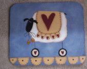 Primitive Mousepad Sheep Heart Penny Rug Blue Home Office Decor Handpainted