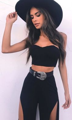 #Summer #Outfits / Black Hat + Black Top