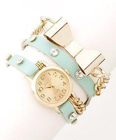Loving this Geneva Platinum Mint & Gold Bow Wrap Watch on #zulily! #zulilyfinds
