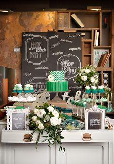 Gorgeous  Green Wedding Dessert Table