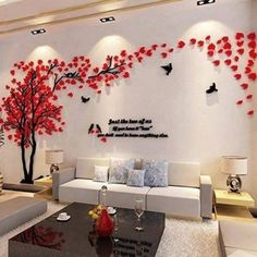 Hermione Baby Couple Tree Wall Murals for Living Room Bedroom Sofa Backdrop Tv Wall Background, Originality Stickers Gift, DIY Wall Decal Home Decor Art Decorations (Medium, Red)