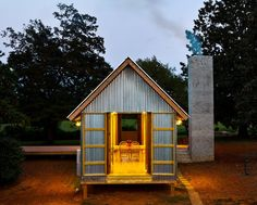 A Third Act for a Tiny House - In Ramseur, North Carolina, a reincarnation of a modernist dog-trot house. The - The New York Times Dog Trot House, Carolina Do Norte, North Carolina, Metal Siding, Cabins And Cottages, Small Cabins, Tiny Spaces, Dog Houses, Tiny Houses
