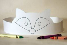 Fox Paper Crown COLOR YOUR OWN  Printable