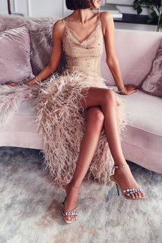 Love this nude crystal embellished feather dress - so good for a holiday party - super chic. Paired it with Sergio Rossi crystal sandals Wedding Party Dresses, Bridesmaid Dresses, Dress Party, Party Wedding, Viva Luxury, Feather Dress, Valentine's Day Outfit, Mermaid Dresses, Mermaid Mermaid