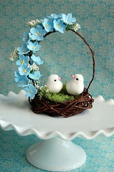Handmade Forget me nots wedding cake topper bird nest in blue Wedding Cake Toppers, Wedding Cakes, How To Make Wedding Cake, Holiday Party Themes, Diy And Crafts, Crafts For Kids, Diy Ostern, Good Night Image, Deco Table