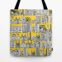 New York yellow Tote Bag by Sharon Turner - $22.00