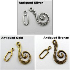 Tibetan Antique Silver Unique Toggle Hook Clasps and Connectors by HalfPennyBoutique, $4.49 https://www.etsy.com/listing/129880063/tibetan-antique-silver-unique-toggle