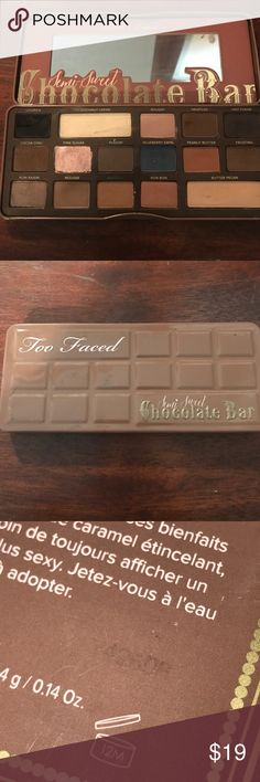 🍫AuthenticTooFaced SemiSweet CocolateBarPalette🍫 I dropped this palette & the black broke. Truffled broke a little too but there is still a lot of product left. Pink sugar got some black in it. Too Faced Makeup Eyeshadow