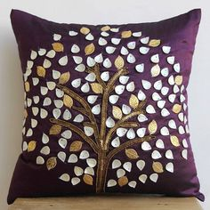 "Mother Of Pearls Tree Purple Art Silk 20""X20"" Pillow Cover - Plum Hope Tree"