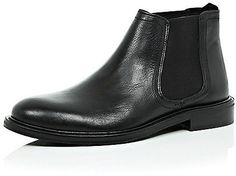 $120, Black Leather Chelsea Boots: River Island Black Leather Chunky Chelsea Boots. Sold by River Island. Click for more info: https://lookastic.com/men/shop_items/335907/redirect