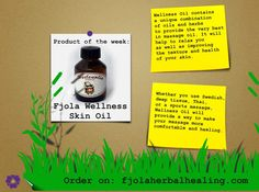 Product of the week: Fjola Wellness Skin Oil. Wellness Oil contains a unique combination of oils and herbs to provide the very best in massage oil. You can order our skin oil on http://www.fjolaherbalhealing.com/