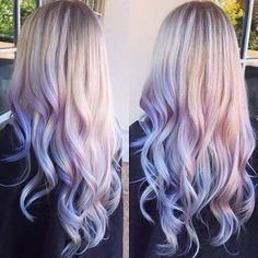 more pastel hair color ideas for you Hair Color Purple, Blonde Color, Cool Hair Color, Hair Colors, Purple Lilac, Ombre Blond, Ombre Hair, Balayage Hair, Blonde Dip Dye