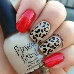 33 Ideas for gel manicure designs short nails leopard prints Sexy Nails, Fancy Nails, Love Nails, Pretty Nails, Red Sparkle Nails, Nails Kylie Jenner, Leopard Print Nails, Red Leopard, Red Cheetah Nails