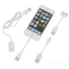 3 In 1 30 Pin 8 Pin Micro Charger Cable For iPhone Smartphone Device