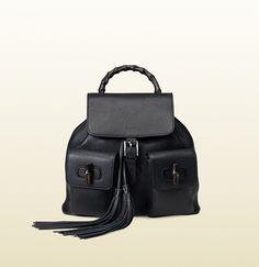 Gucci Bamboo Black Leather Backpack; $2,590.00