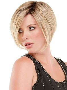 Medium Straight Bob Hairstyle Synthetic Wigs With Inclined Bang